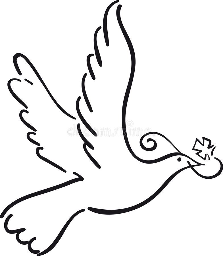 Simple dove. Flying with cross like symbol against white background vector illustration