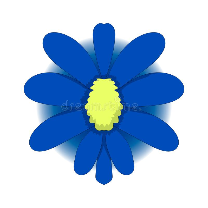 Simple drawing of a blue flower. Vector graphics. Hand drawing royalty free illustration