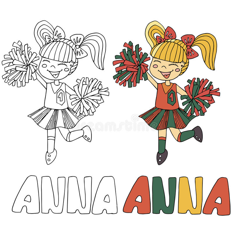 The simple drawing cartoon for coloring image of children with different names in the compatibility with the character. The simple drawing cartoon and with color vector illustration