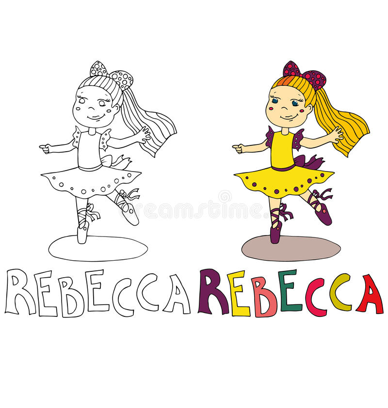 The simple drawing cartoon for coloring image of children with different names in the compatibility with the character. The simple drawing cartoon and with color royalty free illustration