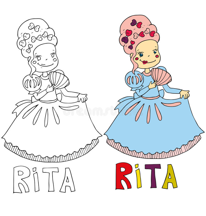 The simple drawing cartoon for coloring image of children with different names in the compatibility with the character. The simple drawing cartoon and with color stock illustration