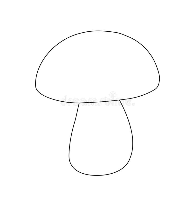 Vector outline mushroom, for coloring. simple drawing for children. Simple drawing for children. vector outline mushroom, for coloring stock images