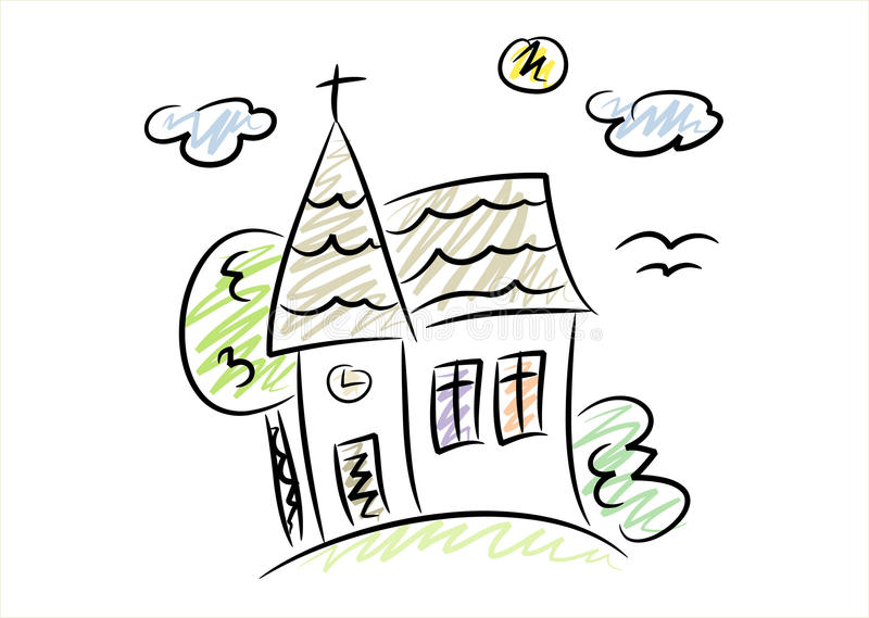 Download Simple Drawing Of A Little Church Stock Vector - Image: 13193606