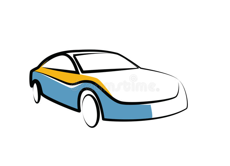 Simple Drawing Of A Modern Sports Car Auto Sketch Stock Vector - Simple sports car