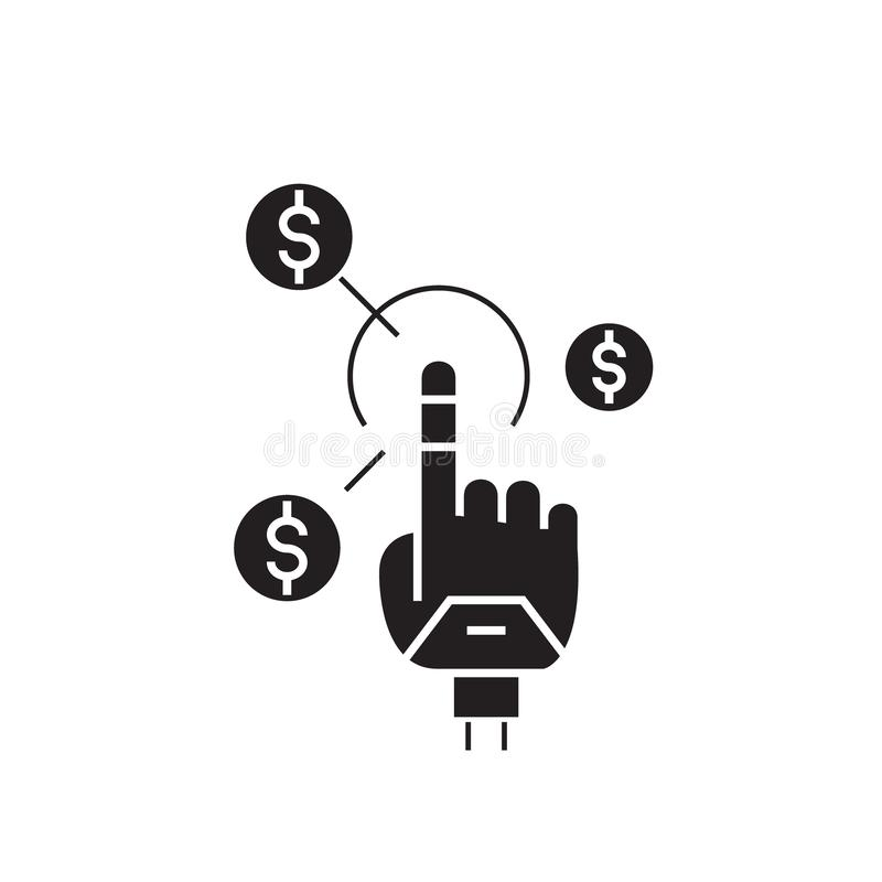 Simple earnings black vector concept icon. Simple earnings flat illustration, sign royalty free illustration