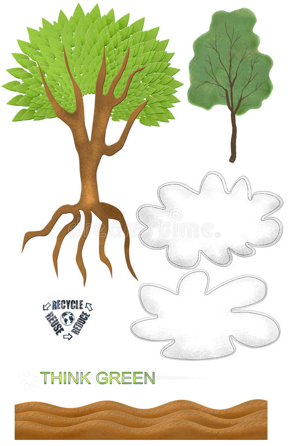 Simple Earth Day Tree Cloud Recycle Textured Spring Clip Art Elements vector illustration
