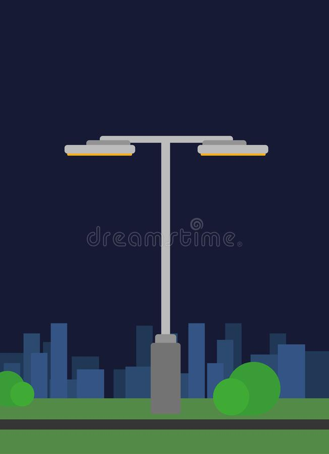 Simple modern eco street light in night town stock image