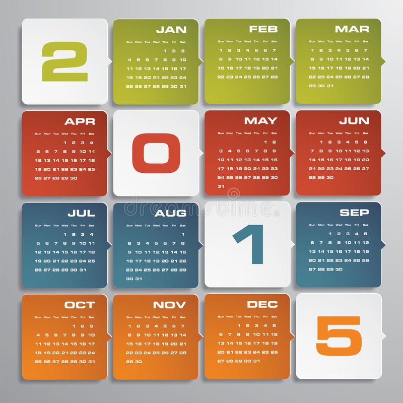 Free Simple Editable Vector Calendar 2015 Stock Photography - 44116452