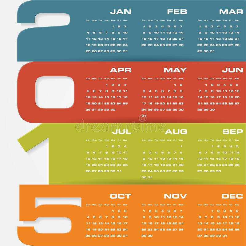 Simple Editable Vector Calendar 2015 Stock Vector Illustration Of