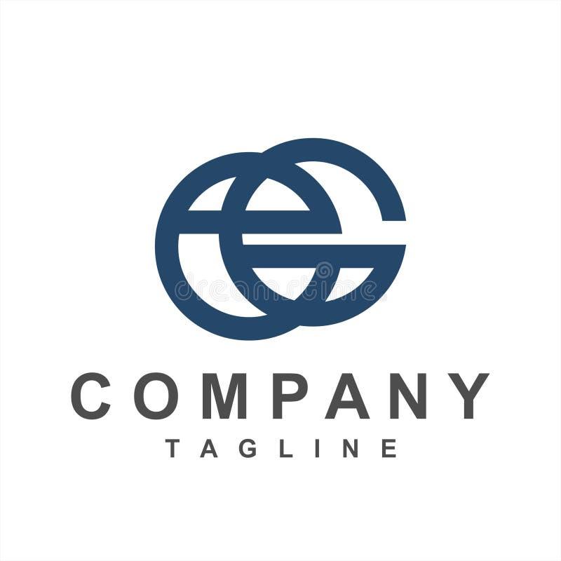 Simple eG, Ge, ecG initials company logo. Simple geometric line art eG, Ge, ecG initials company logo vector illustration