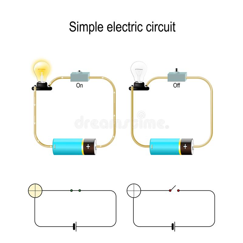 Simple Electric Circuit. Electrical network and lighting lamp. Switch, light bulb, wire and battery. vector illustration for physical, educational, and science vector illustration