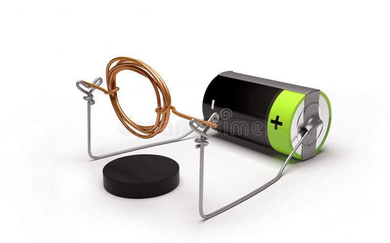 Simple electric motor experiment with cell and magnet. vector illustration
