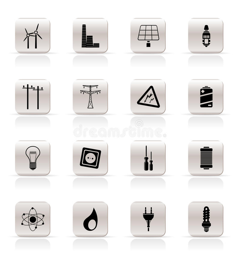 Download Simple Electricity, Power And Energy Icons Royalty Free Stock Photos - Image: 10952728
