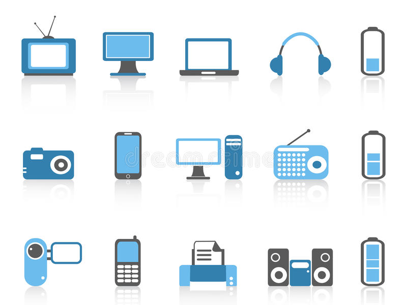 Simple Electronic Icons,blue Color Series Stock Vector ...