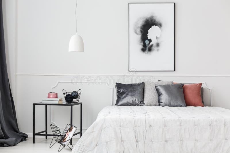 Elegant bedroom with wall molding stock photo