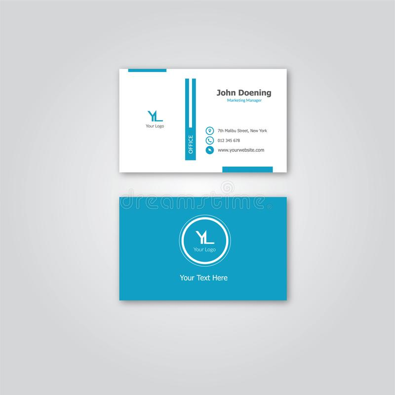 Simple Elegant Blue Theme Bussiness Card by Niquebickin stock images