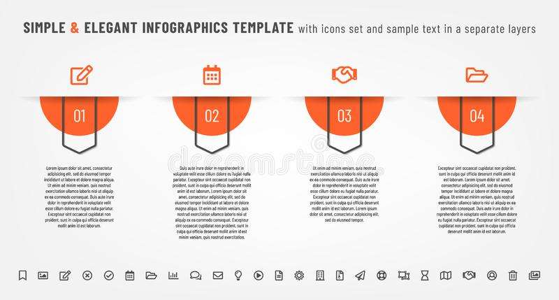 Simple and elegant infographics template with icons set royalty free stock images