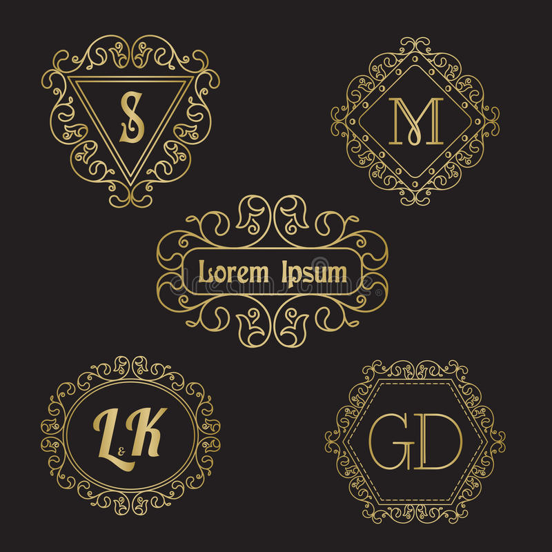 Simple and elegant line art floral monograms and vignettes. royalty free illustration