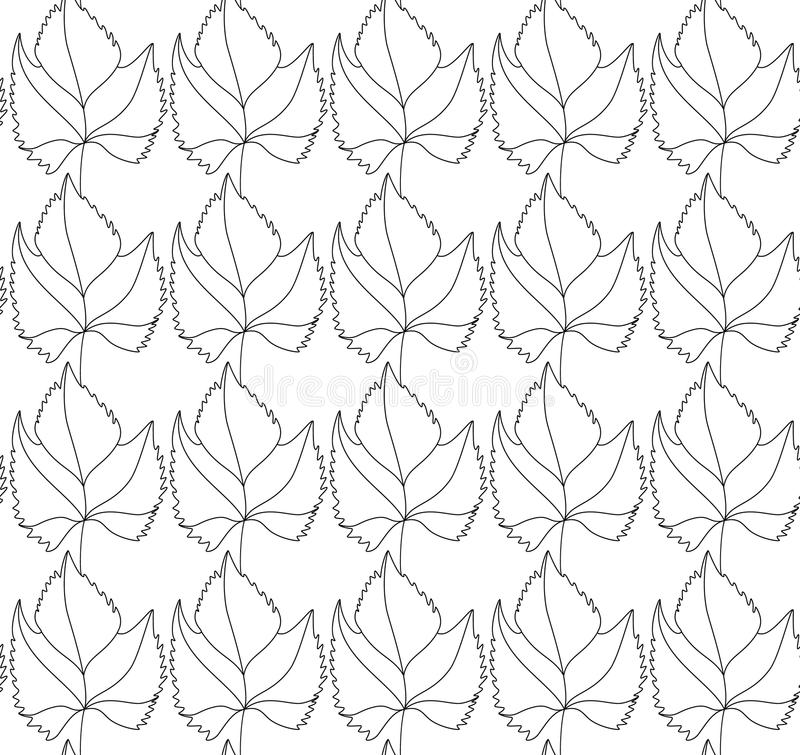 Simple elegant pattern with leaves drawn in thin lines in black. Seamless vector texture for web, print, wallpaper stock illustration
