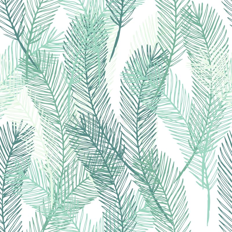 Free Simple Elegant Pattern Of Hand Drawn Palm Leaves. Green Tropical Branches On White Background. Seamless Vector Pattern Royalty Free Stock Image - 155716266