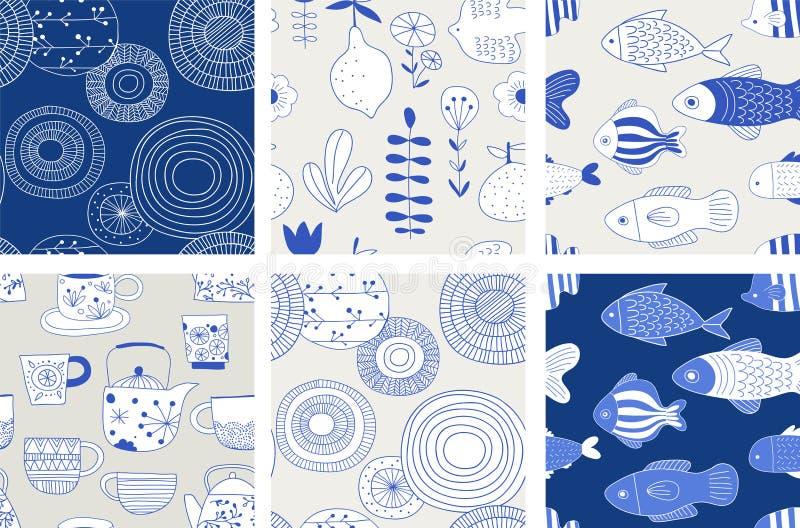 Simple, elegant and stylish collection of modern hand drawn kitchenware, japanese ceramics, seamless patterns stock illustration