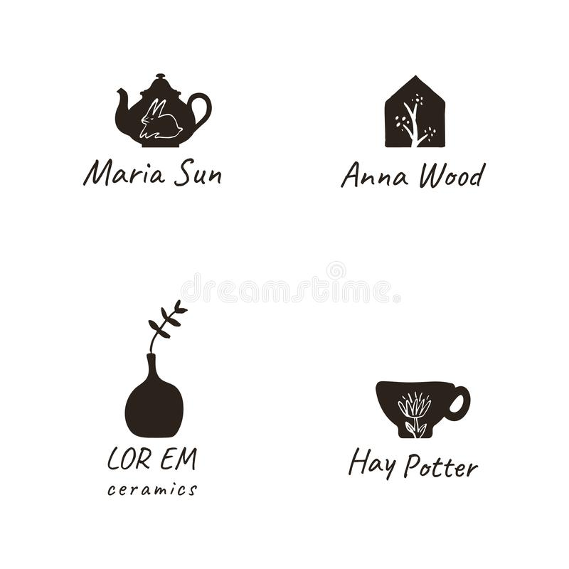Simple, elegant and stylish collection of modern hand drawn logos and illustrations, craft and handmade concept vector illustration
