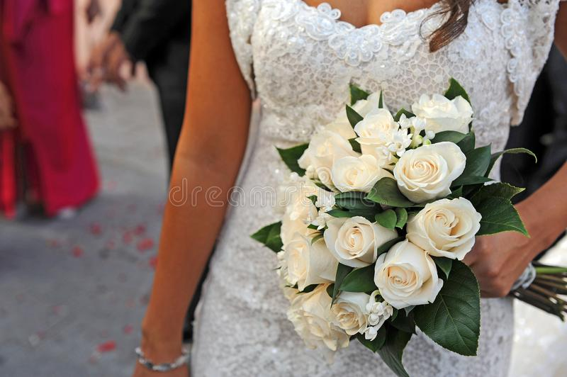 Simple and elegant wedding bouquet, wedding day stock photo
