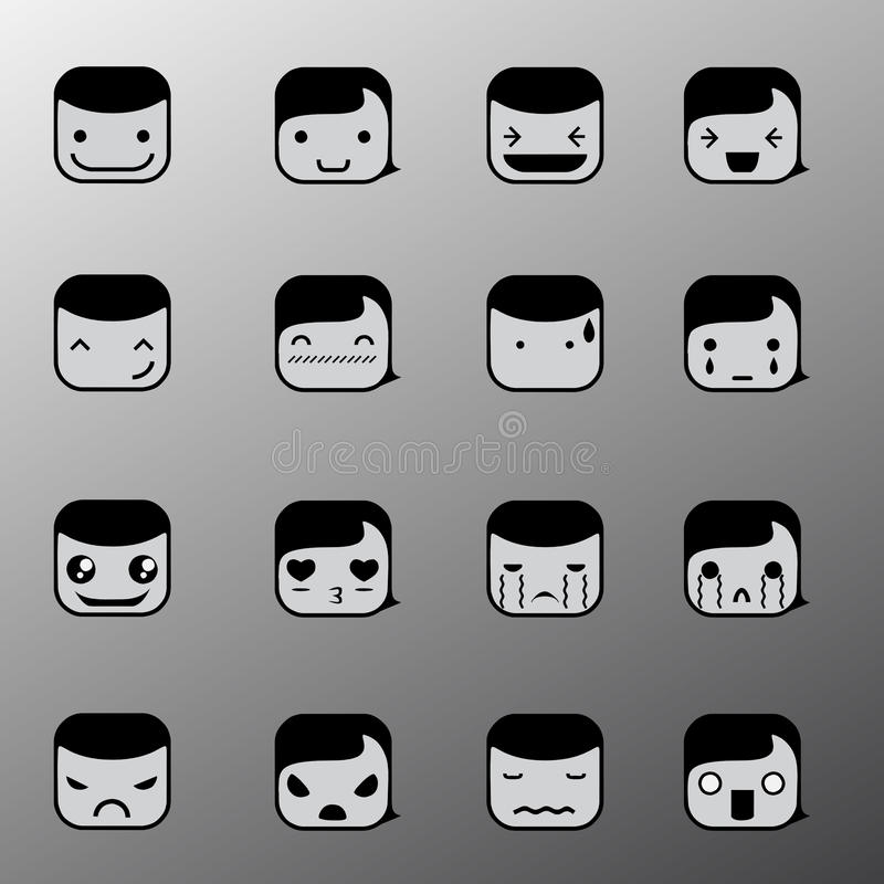Download Simple Emotion Face Symbols Stock Vector - Illustration of ideas, displeased: 33567081
