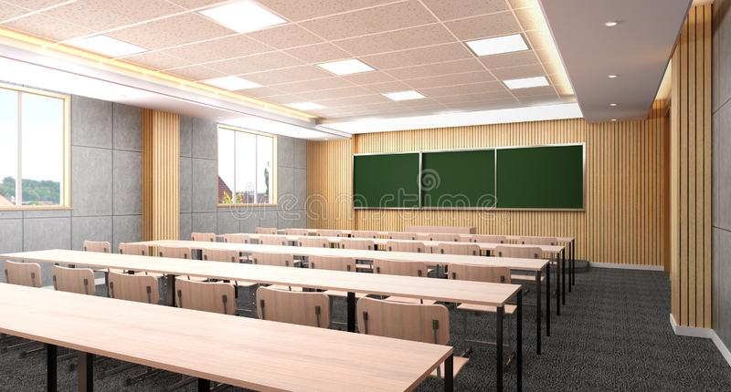 Simple empty classroom in school 3d render image royalty free illustration