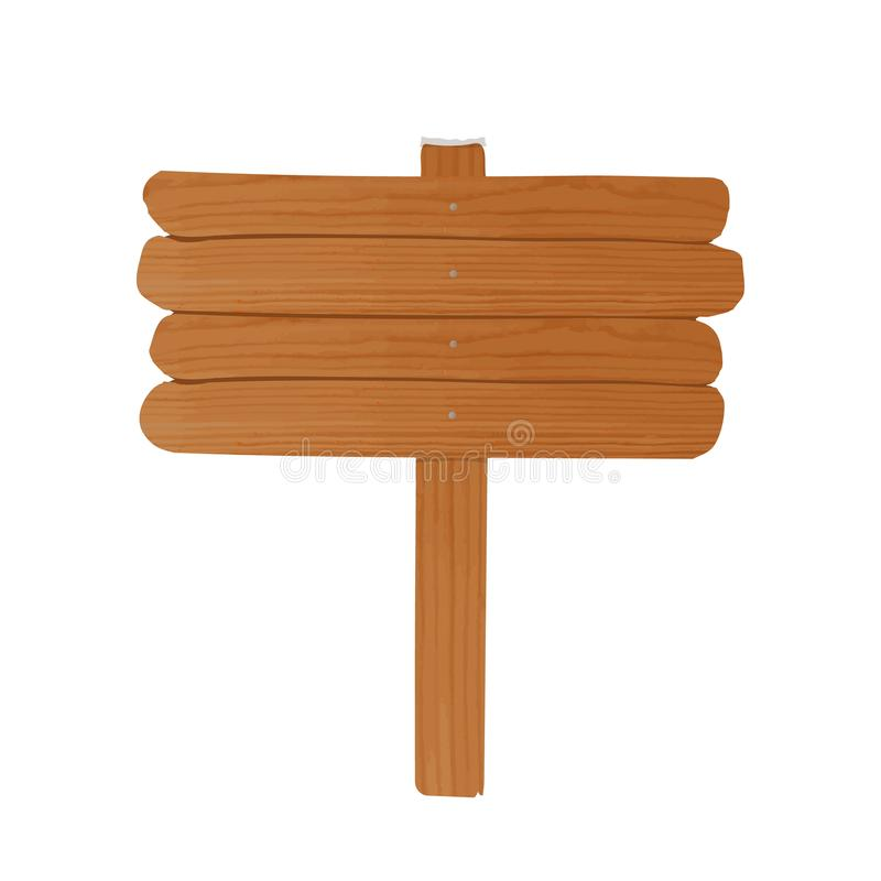 Simple empty wooden billboard made of rough planks and stick nailed together. Signpost or signboard isolated on white. Background. Cartoon decorative design stock illustration