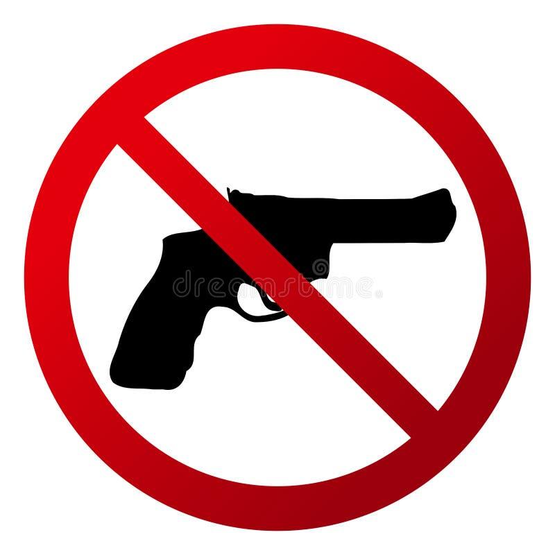 ` Simple et circulaire aucune arme à feu permise le ` Signe rouge de gradient, silhouette noire illustration de vecteur