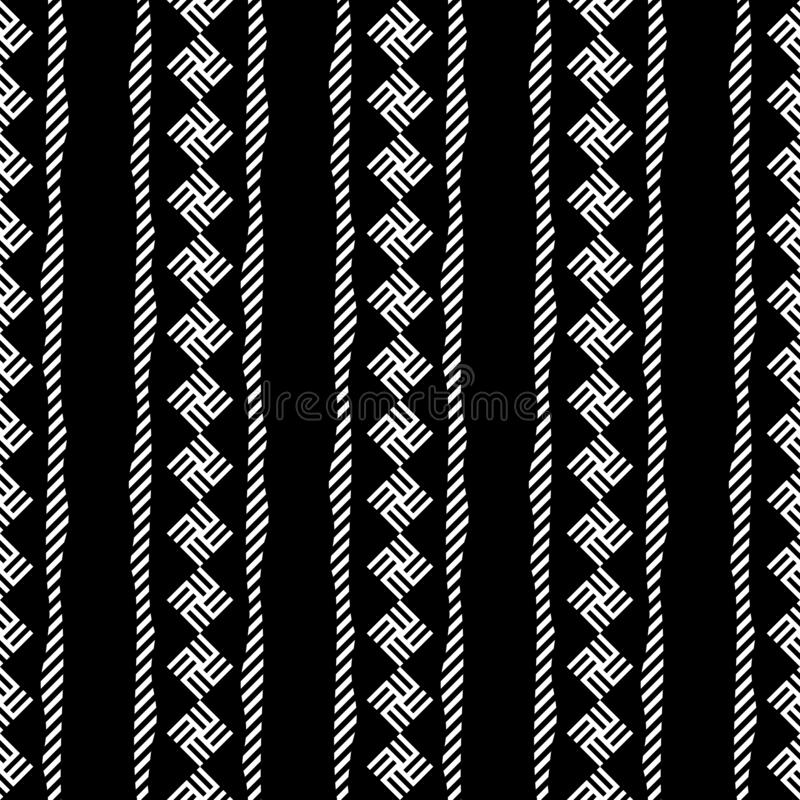Simple Ethnic black white monochrome vertical Line Seamless Pattern Design   Arr Series. Arr Series. Simple Line Seamless Pattern Design. Combination colors of vector illustration