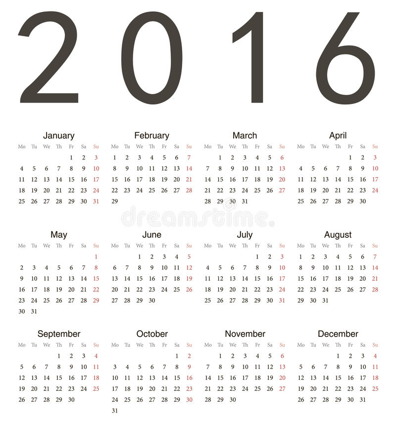 Simple european square calendar 2016 royalty free illustration