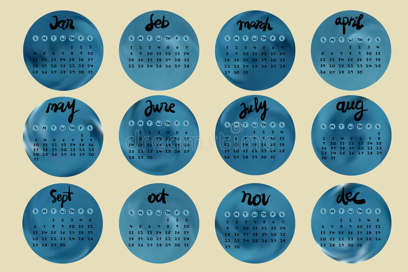 Simple european 2015 year calendar with handwriting style stock illustration