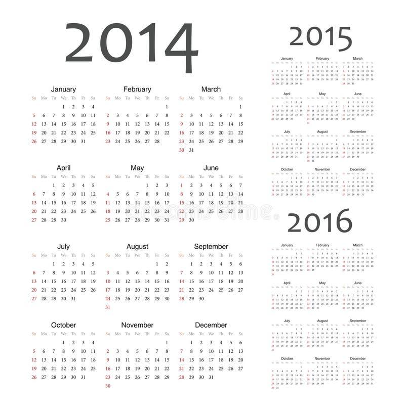 European 2014, 2015, 2016 year vector calendars stock illustration