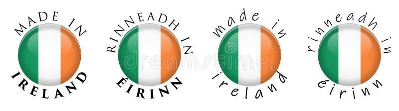 Simple fabriqué en Irlande Rinneadh dans la traduction irlandaise 3 d'Eirinn illustration de vecteur