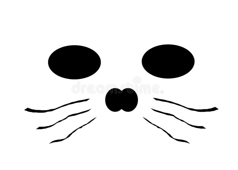 A simple face of an animal like an otter or cat against a white backdrop stock photography