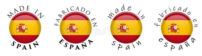 Simple fait dans la traduction espagnole d'en Espana de l'Espagne Fabricado illustration stock