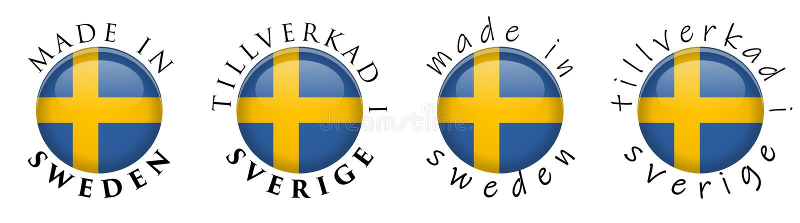 Simple fait dans la traduction suédoise de la Suède Tillverkad i Sverige illustration de vecteur