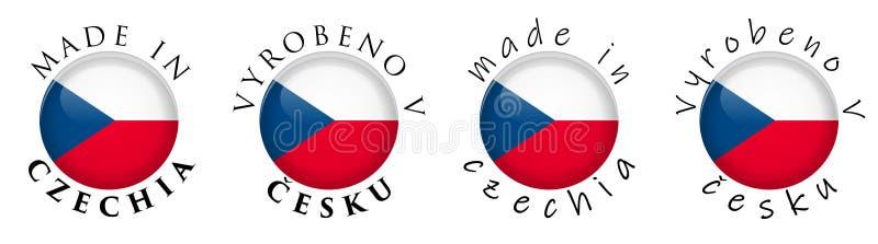 Simple fait dans la traduction tchèque 3D de Czechia/Vyrobeno v Cesku illustration libre de droits