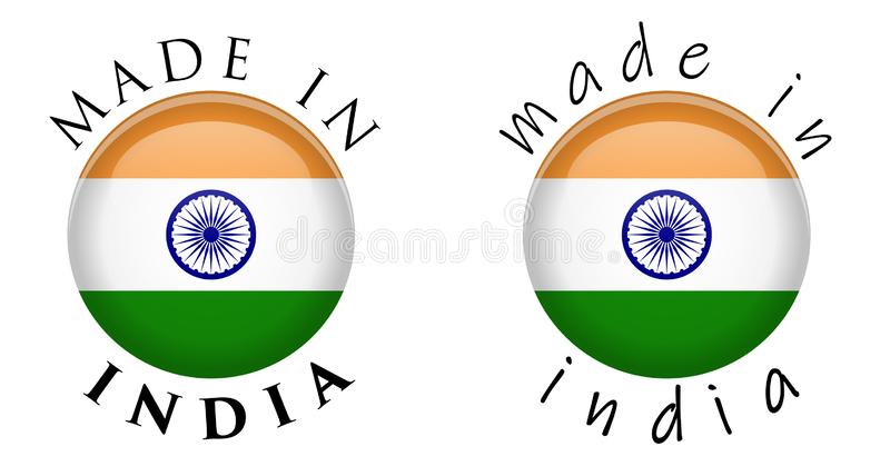 Simple fait dans le signe de bouton de l'Inde 3D Texte autour de cercle avec l'Ind illustration libre de droits