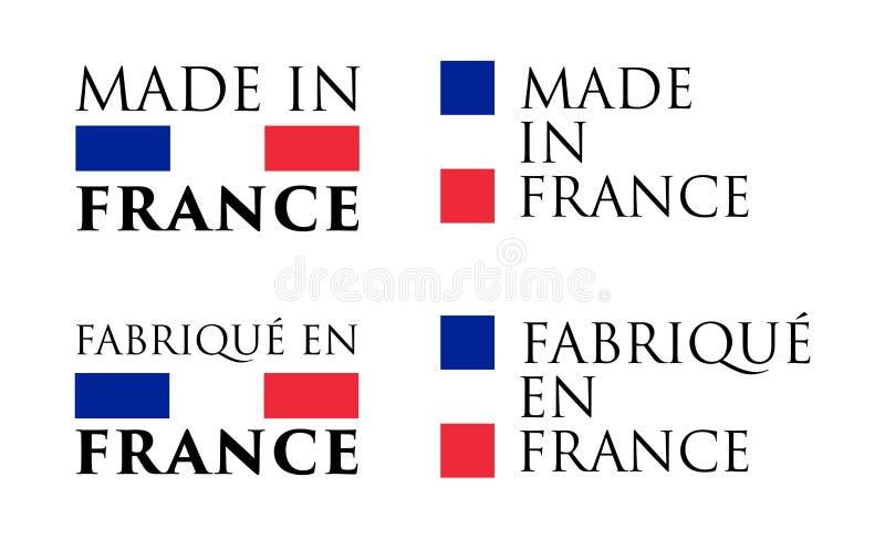 Simple fait dans les Frances et le label français de traduction Texte avec illustration de vecteur