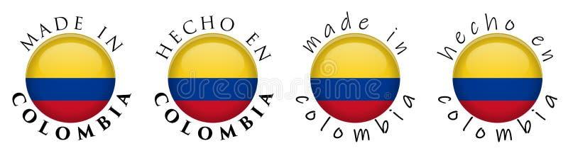 Simple fait en Colombie/signe espagnol de bouton de la traduction 3D T illustration de vecteur