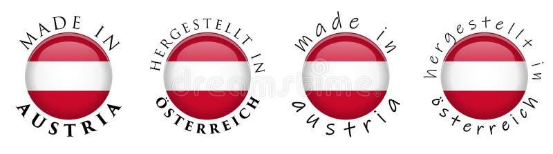 Simple fait en l'Autriche/Hergestellt dans le transport allemand d'Osterreich illustration de vecteur