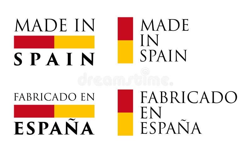 Simple fait traduction d'Espagnol en de l'Espagne/Fabricado EN Espana illustration libre de droits