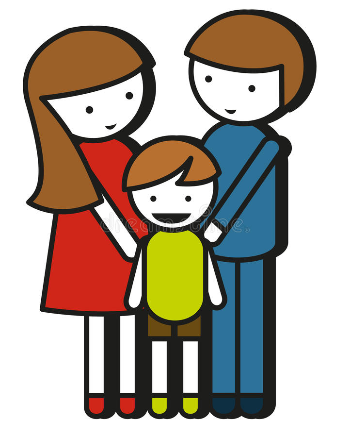 Simple Family Drawing With Parents And Kid Stock Vector