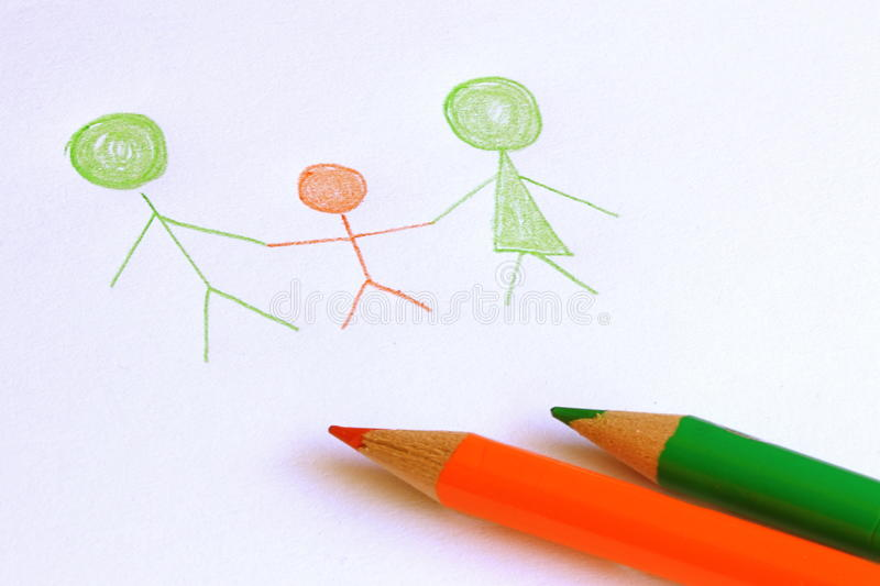 Simple Family Drawing. On a white paper stock photography