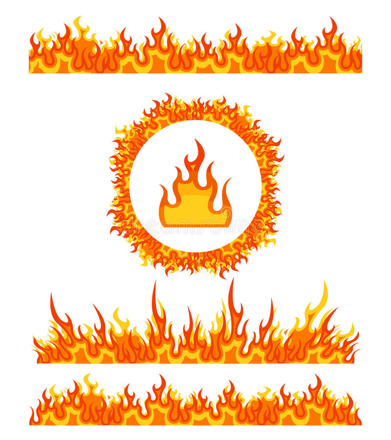 Simple fire border patterns and round frame. Flame borders vector stock illustration