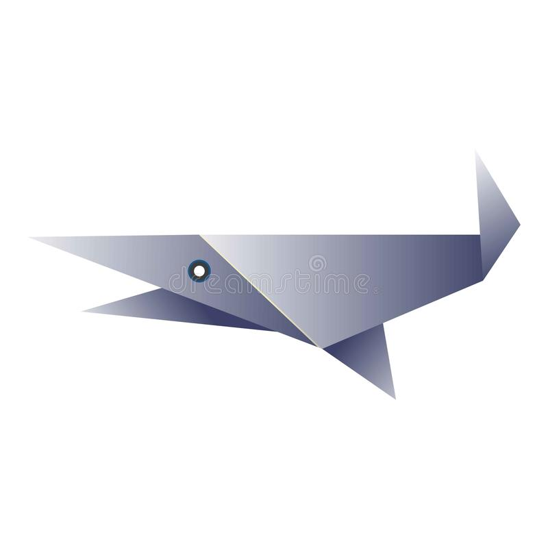 Simple fish origami figurine. Vector illustration of simple paper made blue fish isolated on white royalty free illustration