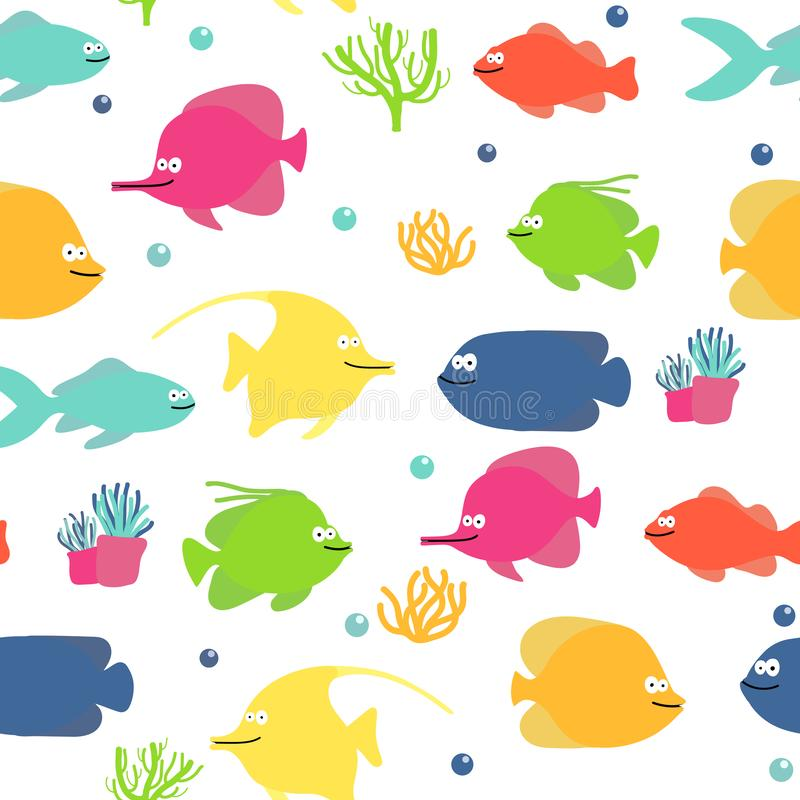 Simple fish pattern for your design. children drawing cute animals stock illustration